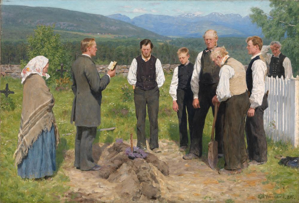Erik Werenskiold, Peasant Burial,  1883-1885. Erik Werenskiold [Public domain or Public domain], via Wikimedia Commons
