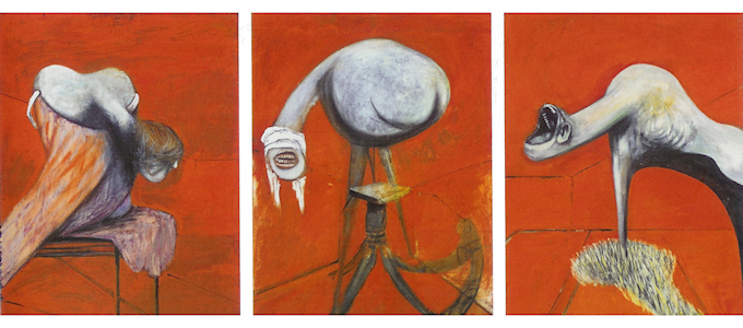 Three Studies for Figures at the Base of a Crucifixion, (1944) Francis Bacon Second Triptych below.