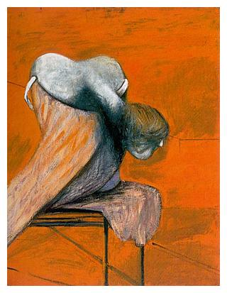 Left-most panel, Three Studies for Figures at the Base of a Crucifixion, (1944) Francis Bacon