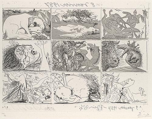 Pablo Picasso, Dream and Lie of Franco, 1937. Etching.