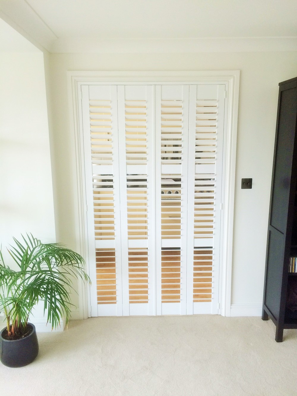 Plantation shutters with open louvres