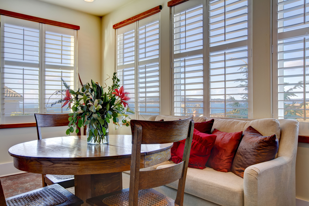 Interior plantation shutters kitchen and living areas