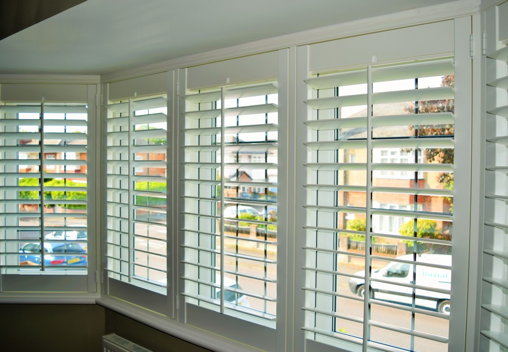 Interior bay window shutters