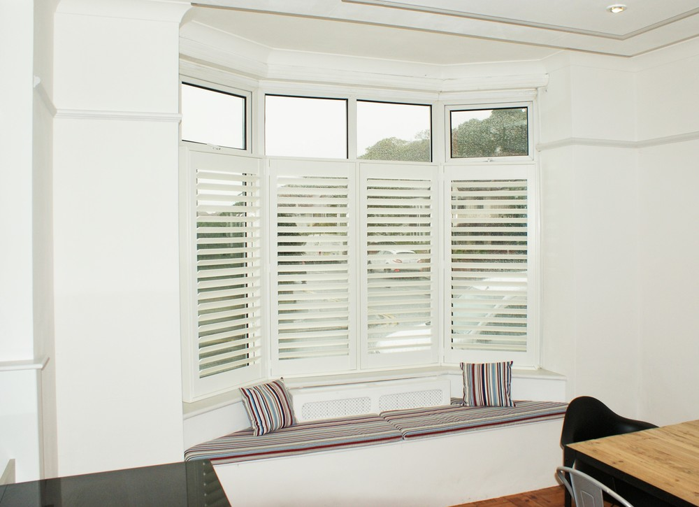 Bay window shutters Christchurch Dorset