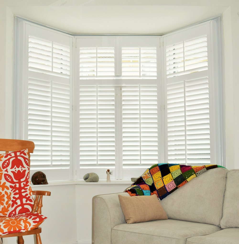 Bay window plantation shutters Weymouth Dorset