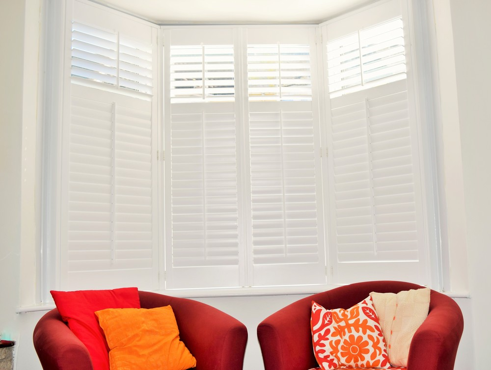 Plantation shutters on bay windows Christchurch Dorset