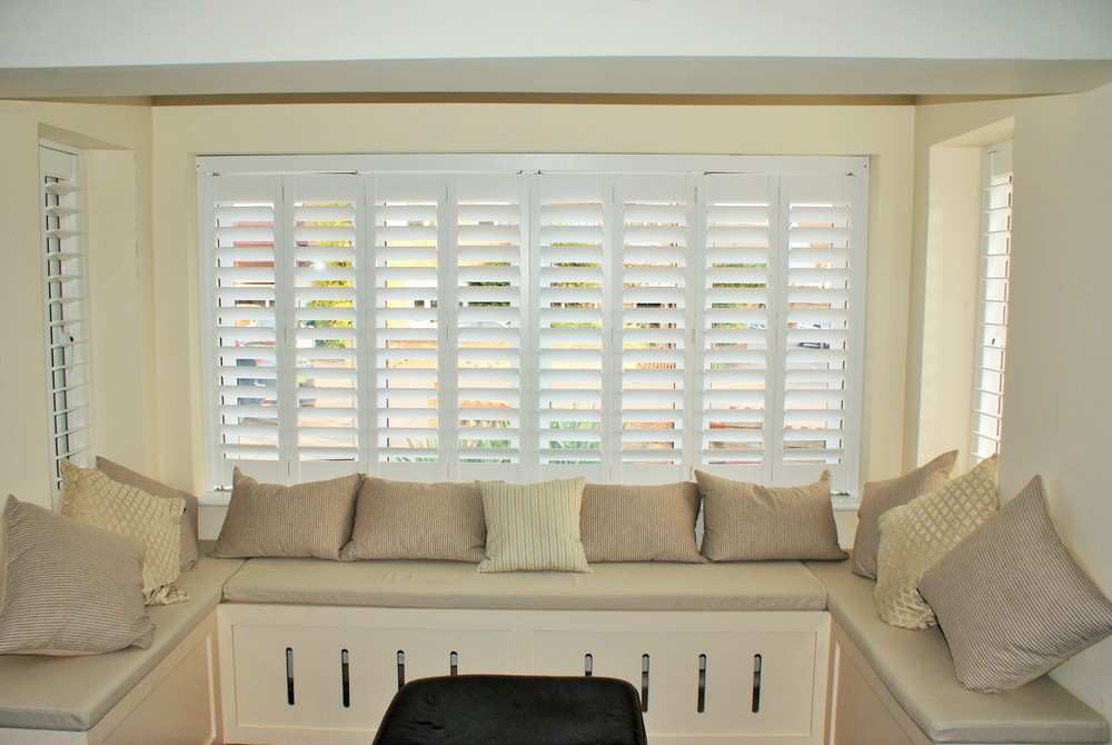Bay window timber shutters Verwood West Moors Ferndown Dorset
