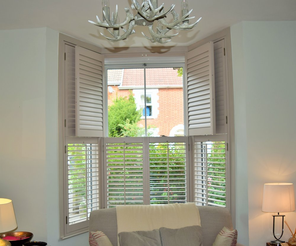 Tier on tier bay window plantation shutters Salisbury