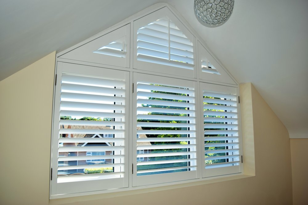 Plantation Shutters on Triangular Window
