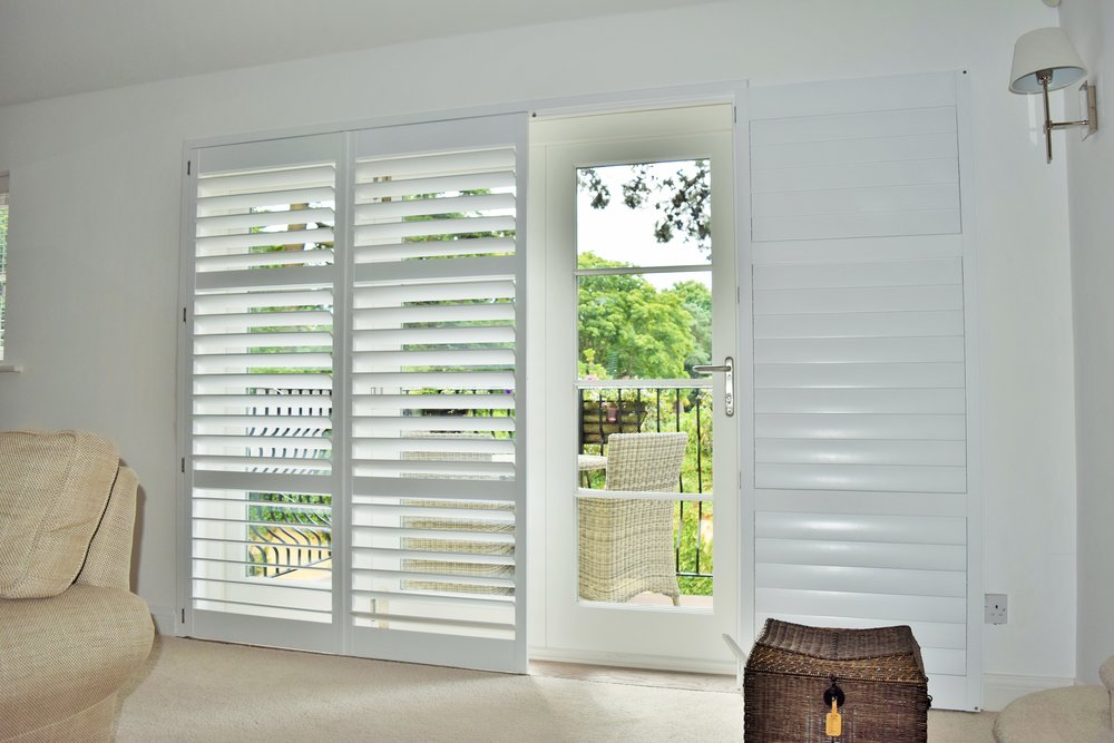 Patio door plantation shutters Poole dorset