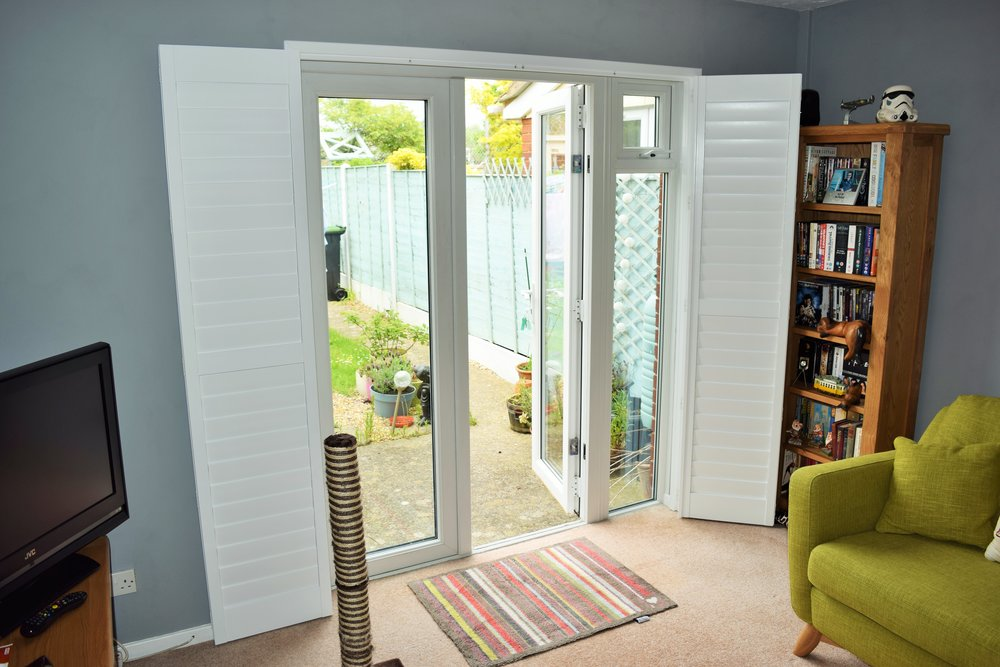 Patio door shutters Ringwood, Ferndown, Bournemouth, Dorset
