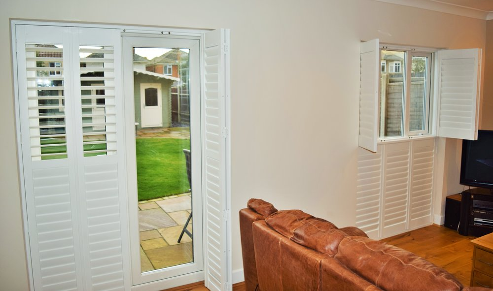 Tier on tier patio door shutters