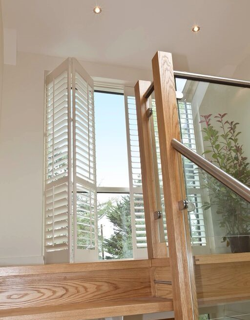 Patio door plantation shutters full height