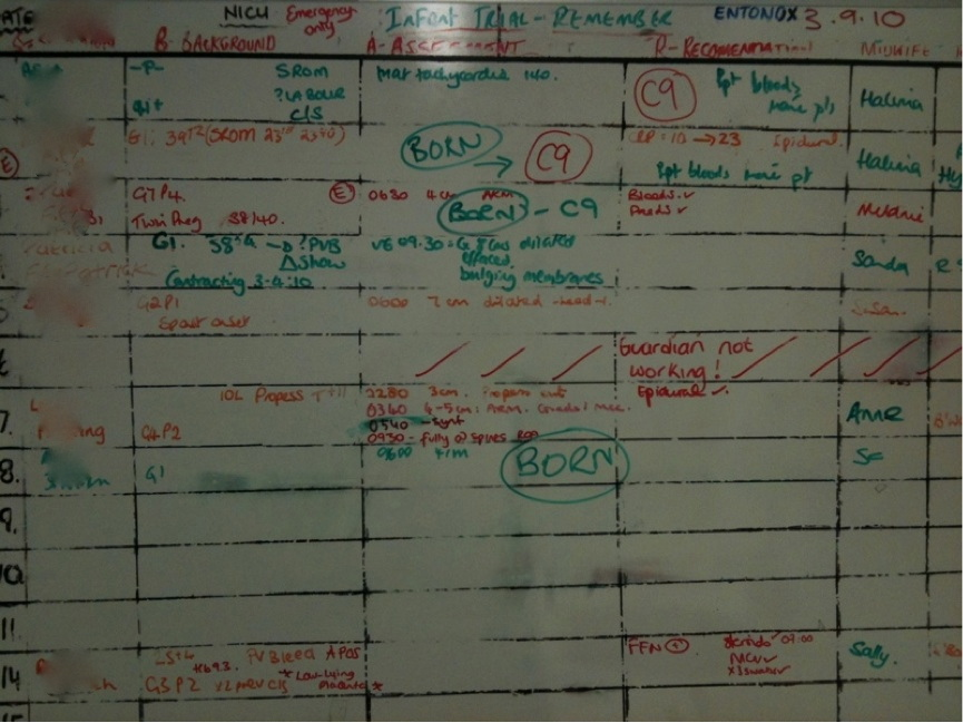 PHOTOGRAPH TAKEN OF WHITE BOARD IN A MATERNITY BIRTH SUITE - AFTER SHIFT IN LANGUAGE FROM 'DELIVERED' TO 'BORN'