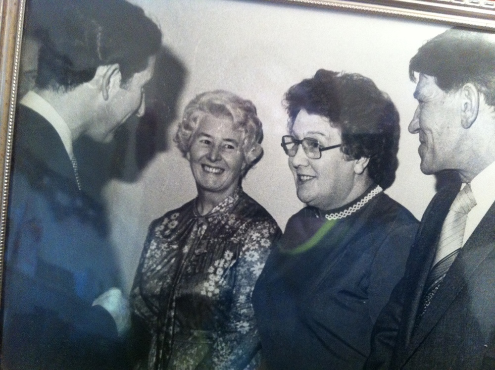 Joan Fenton with prince charles, at the opeing of the edith watson maternity unit in 1968