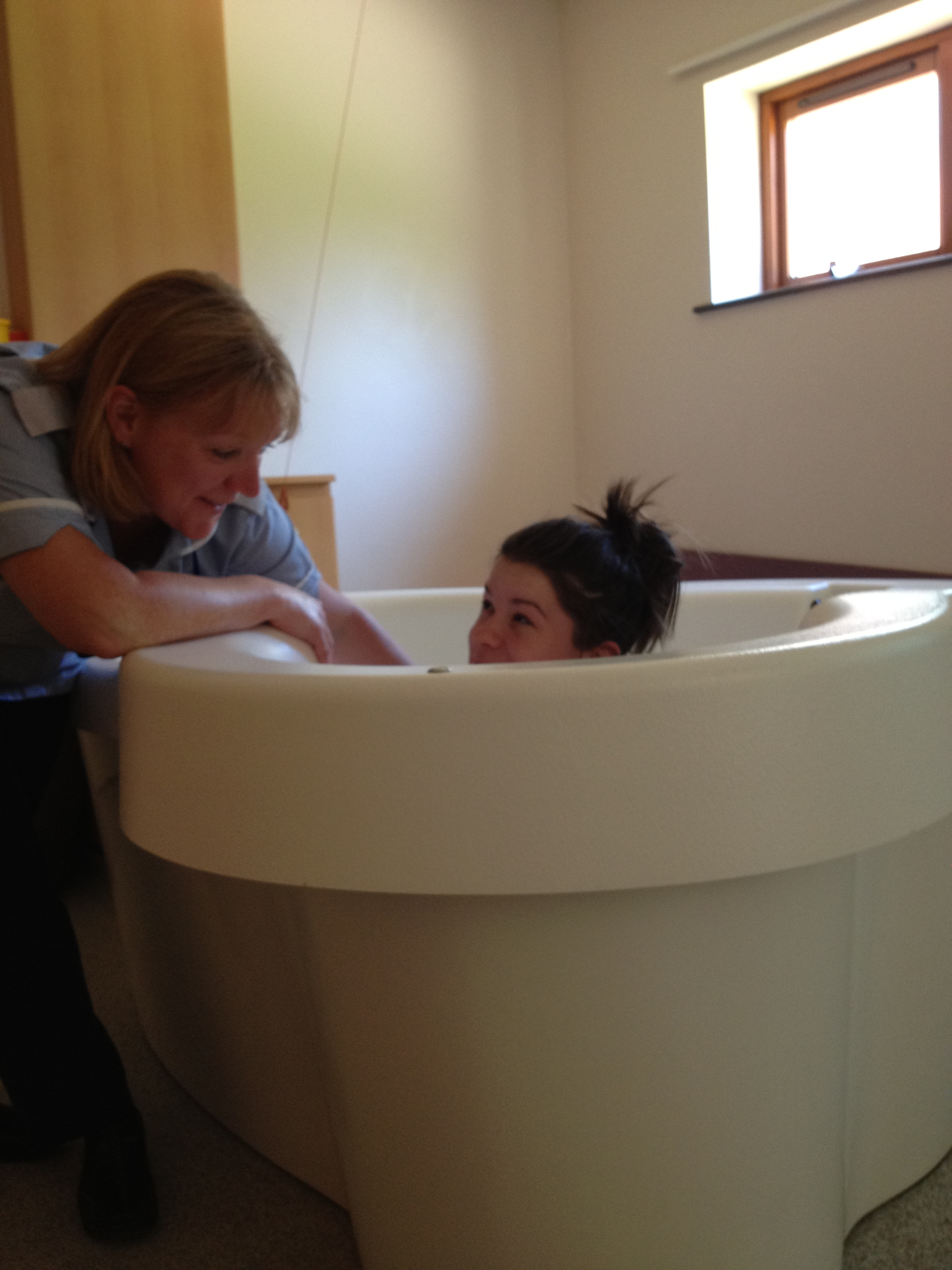 My daughter Olivia trying out one of the pools at Blackburn Birth Centre