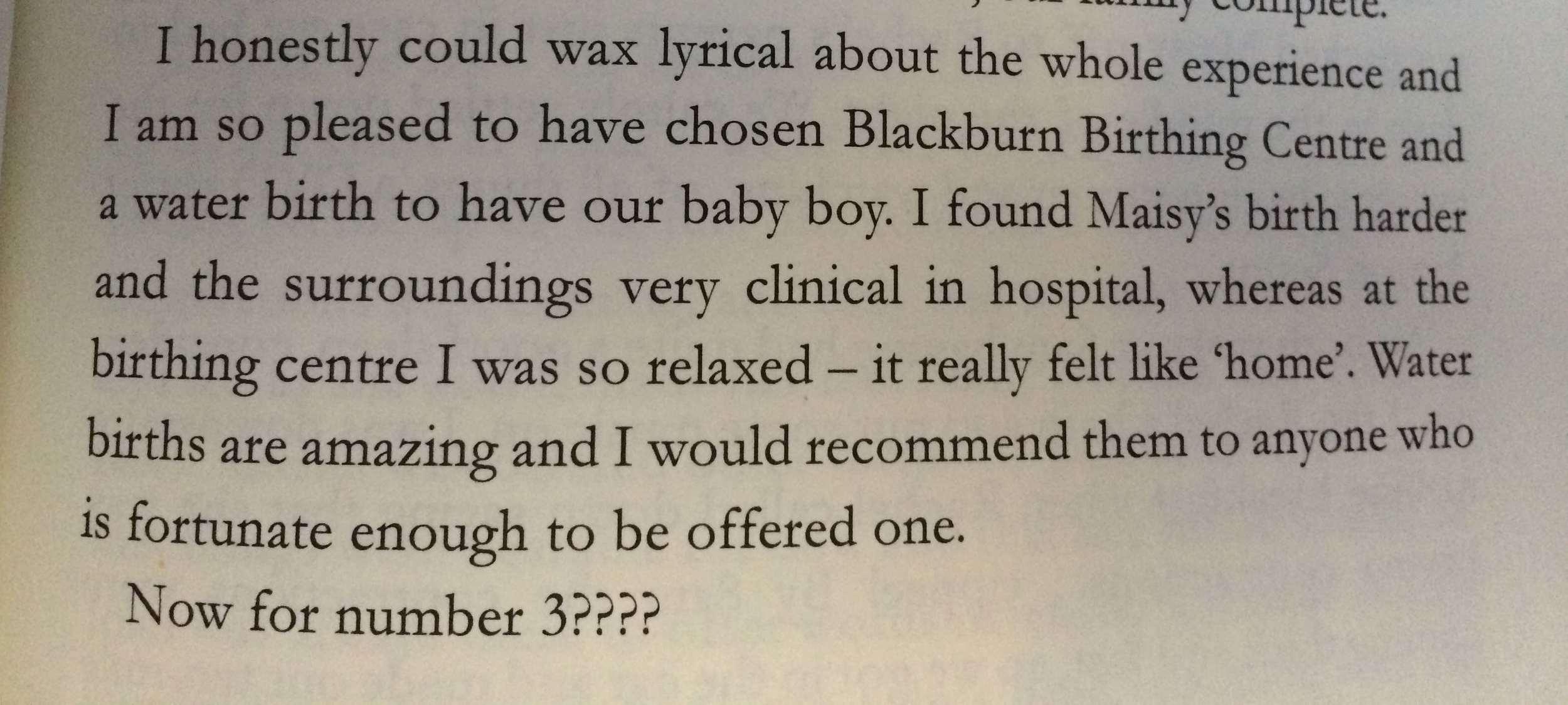 Excerpt from Rachel's water birth story