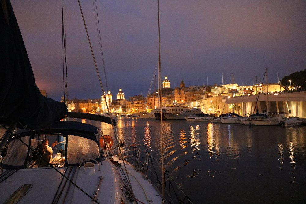 Malta Sailing experiences harbour cruise by night.jpg