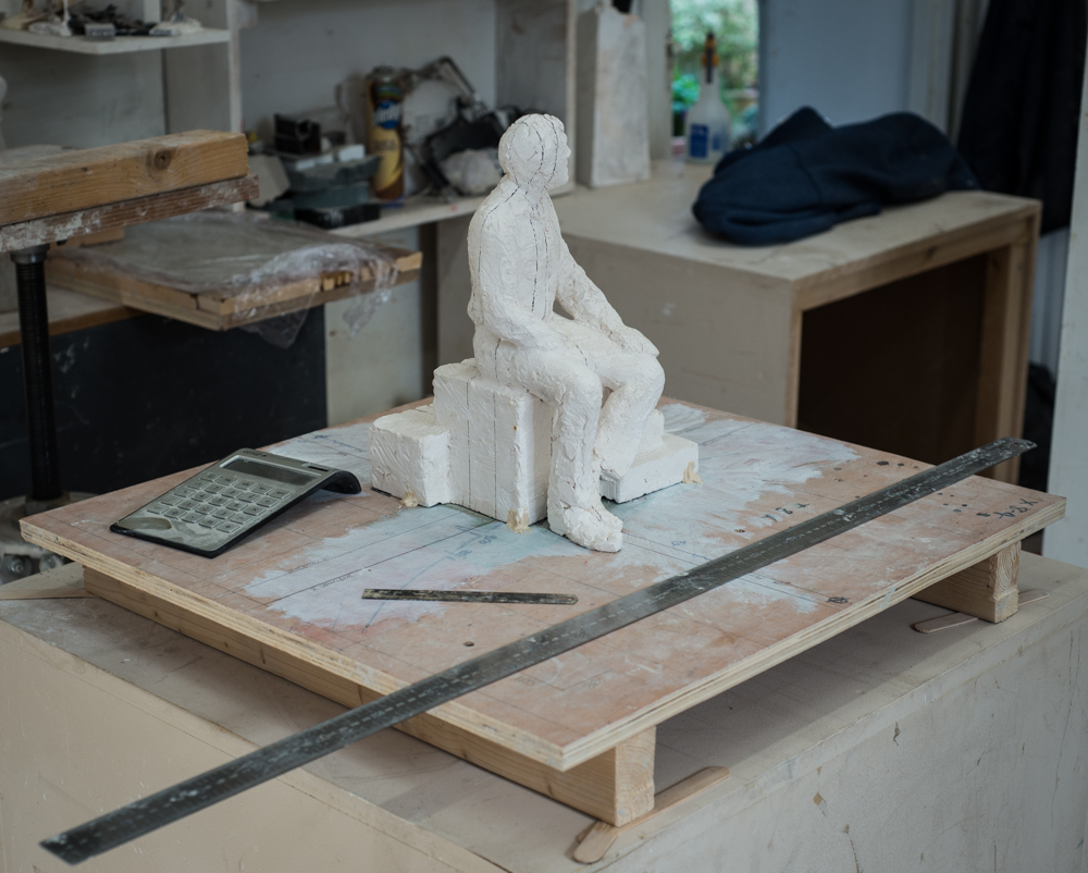 The maquette baseboard to levelled and the maquette secured with filler.