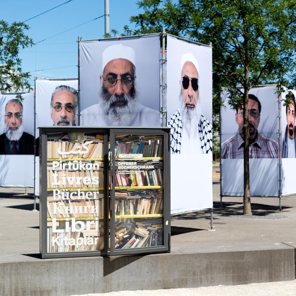 All Egyptians Ausstellung von Nabil Boutros am IAF Basel 2017 auf dem Voltaplatz. Juni 2017