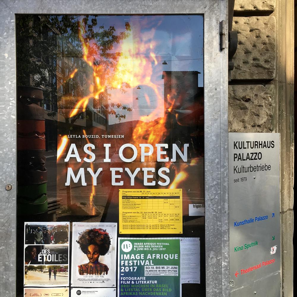 Aushang der IAF Basel 2017 Filmreihe im Kino Sputnik in Liestal. Juni 2017