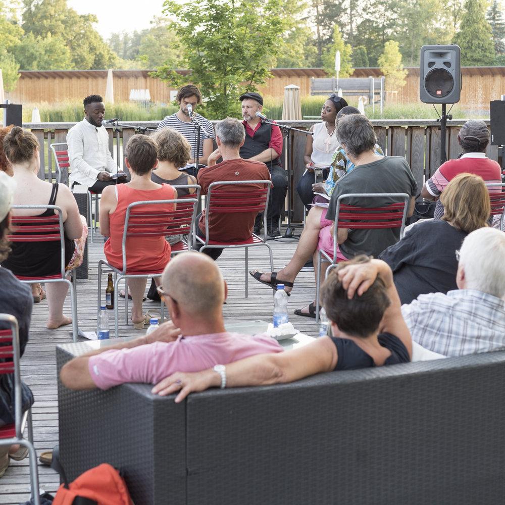 Image Afrique Stadtsprachen Abend im Naturbad Riehen. Juni 2017