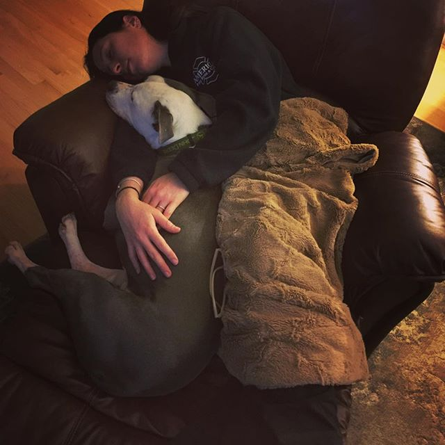 Oops! @justinbutler82 caught me napping with Sly! 🐶❤️ #sunday #cuddles #pitbull #instapit #sly #bigweirdo #homesweethome