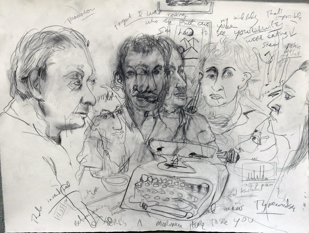 Paul Auster , Lucas Zwirner , Sophie Auster , dinner conversation
