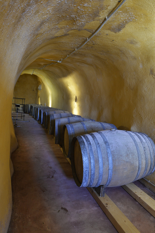 the amazing wine storage catacombs of Venetsanos winery