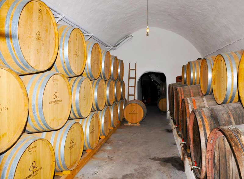The french oak barrels of Argyros Estate Winery