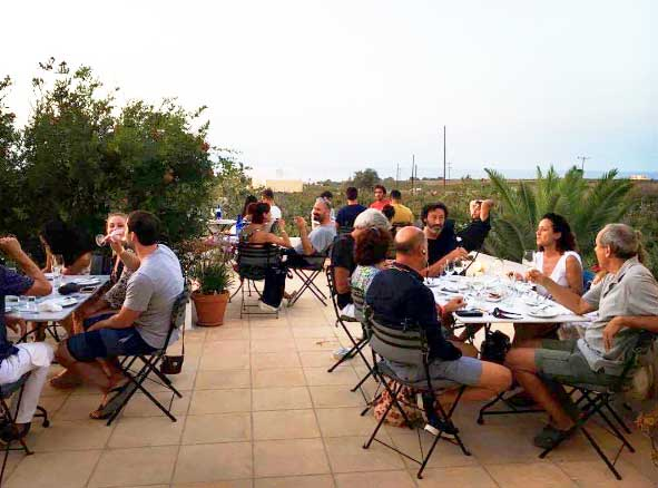 Domain Sigalas Winery terrace…located within the vineyard!