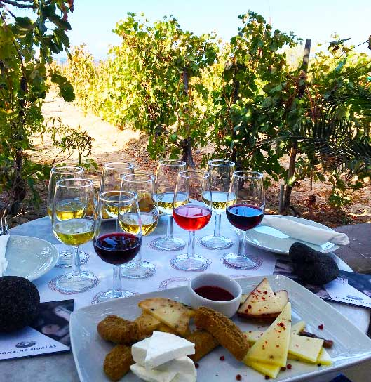 Greek mezze and platters at Domaine Sigalas are yummy…!
