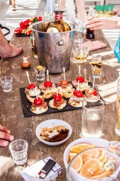 Nibbles, fresh fruit and amazing salads are all included in the Wet Stories beach menu