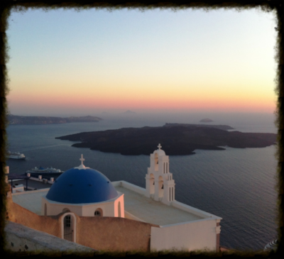 The famous blue dome church in Firostefani, Santorini