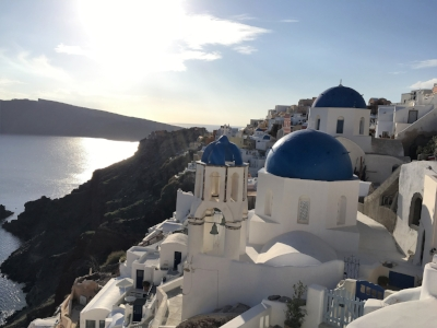 The famous blue domed churches in Oia, Santorini (Find it on the map)