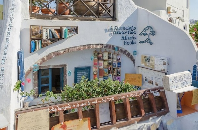 Atlantis Book Store in Oia, Santorini. Picture from OutTraveler