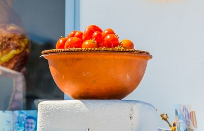Tomatoes are integral to Santorini's food scene, as the variety grown on the island is totally unique