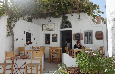 To Kafenedaki tou Emboriou in Santorini is the best place to enjoy a cup of Greek coffee