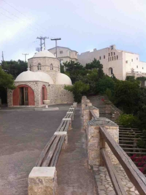 The monastery of Prophet Elias and the chapel of Aghios Nektarios near Pyrgos, Santorini