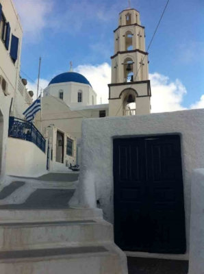 Church And bell tower of  Christos (Metamorfosi Sotiros) in Pyrgos, Santorini.