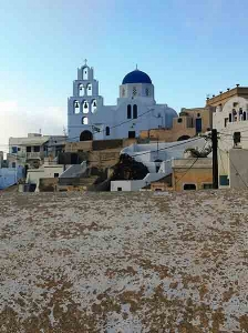 Aghia Theodosia Church in Pyrgos, Santorini. Impossible to miss it.