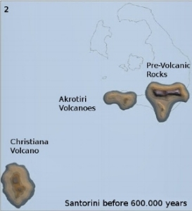 Santorini 600.000 ago: Christiana and Akrotiri Volcanoes
