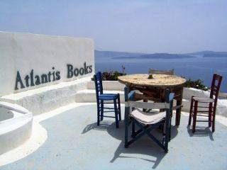 Atlantis Books has an amazing terrace..