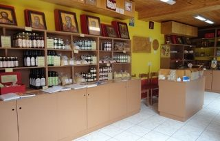 The Monastery of Prophet Elias in Santorini has a shop filled with food made by the monks
