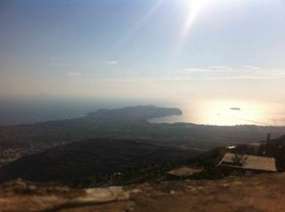 And this is the view to the south side of Santorini from the mountain of Prophet Elias. When we say 360 ° panoramic view, we mean  360 °.