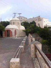 The monastery of Prophet Elias and the chapel of Aghios Nektarios near Pyrgos, Santorini
