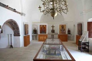 "Ecclesiastical museum inside the church of ""Aghia Triada"" in Pyrgos. Photo  from   santorini.gr"