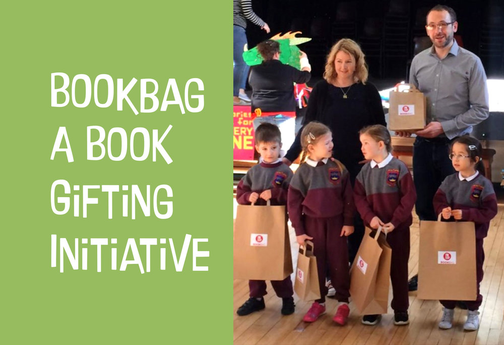 BookBag is delivered in partnership with Children's Books Ireland. Aimed at DEIS schools, every class in the school is visited by an author or illustrator over a series of weeks. The children are also gifted a book to take home and keep. In addition a number of books are gifted to the school. These books are lovingly compiled by Children's Books Ireland with the goal of helping teachers and parents discuss difficult topics with younger students through story. BookBag was initiated by picture book-maker Niamh Sharkey during her term as Laureate na nÓg (2012–2014).