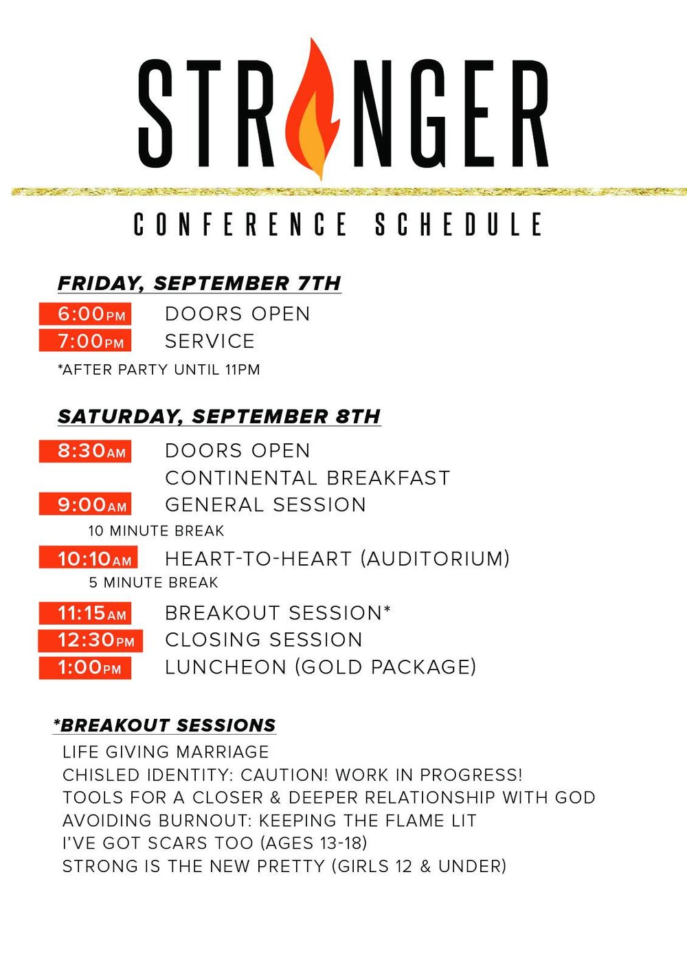 Stronger Women's Conference Schedule