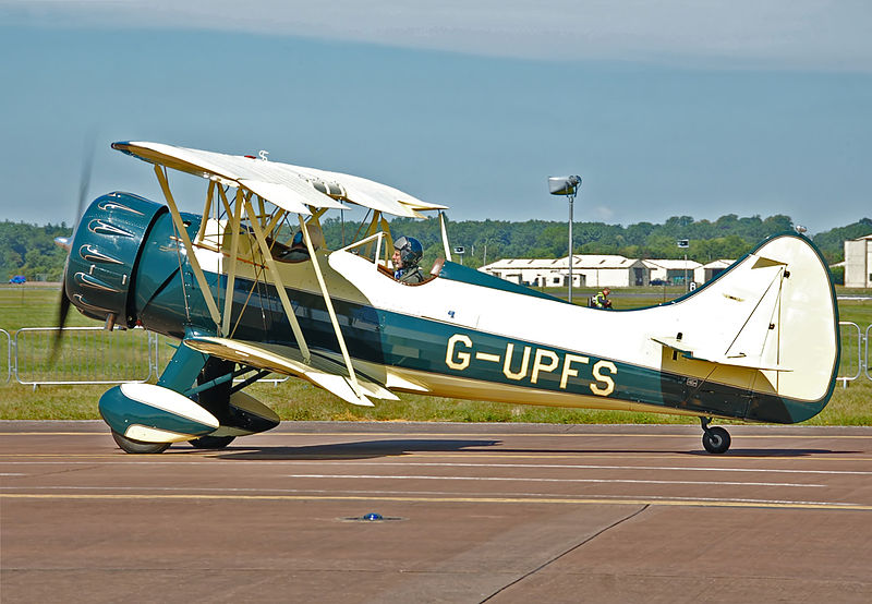 Waco Aircraft Company Waco UPF-7. Image source:  Waco UPF-7 (G-UPFS) arrives RIAT Fairford 10thJuly2014 arp.jpg  by  Arpingstone  is in the  public domain .